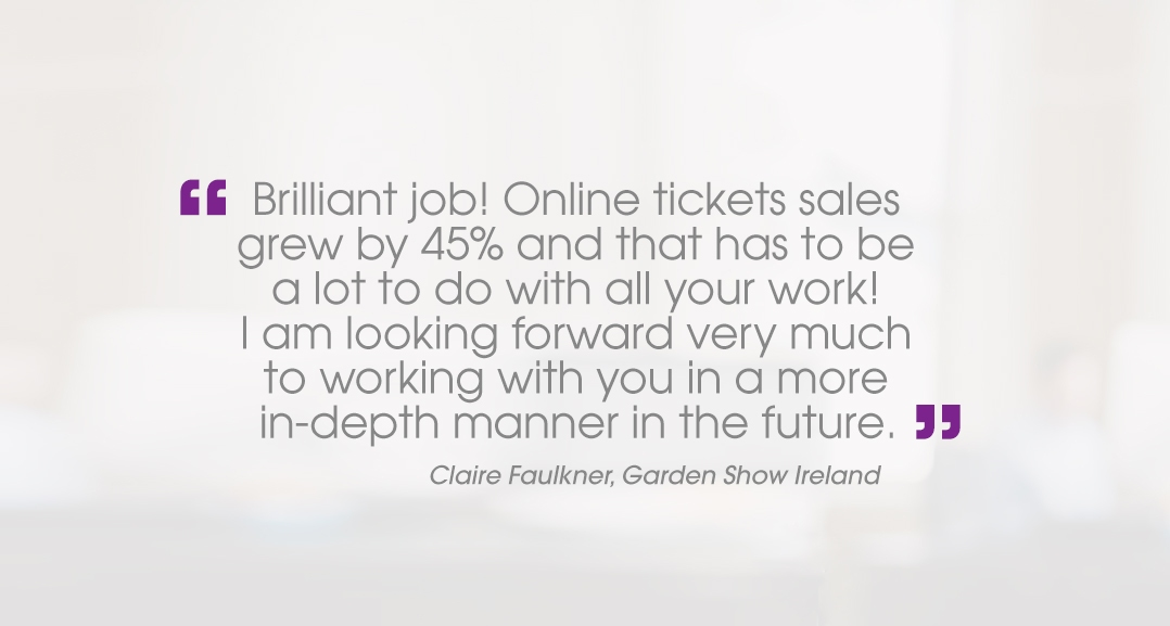 Claire Faulkner Garden Show Ireland testimonial